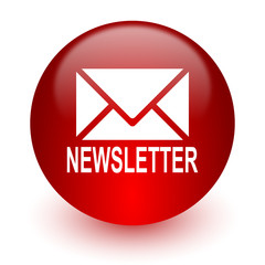 newsletter red computer icon on white background