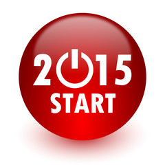new year 2015 red computer icon on white background