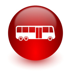 bus red computer icon on white background