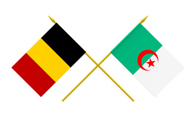Flags of Belgium and Algeria, 3d render, isolated