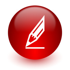 pencil red computer icon on white background