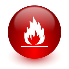 flame red computer icon on white background
