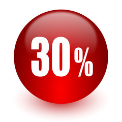 30 percent red computer icon on white background