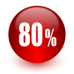 80 percent red computer icon on white background