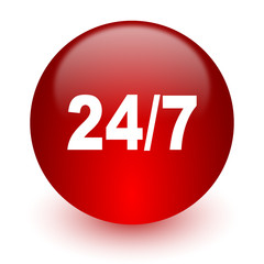 24/7 red computer icon on white background