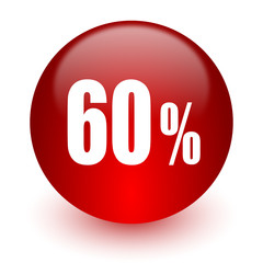 60 percent red computer icon on white background