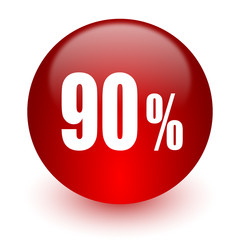 90 percent red computer icon on white background