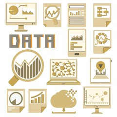 data analysis icons, cardboard theme