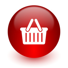cart red computer icon on white background