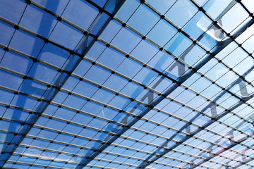 The glass roof of the station in sunshine