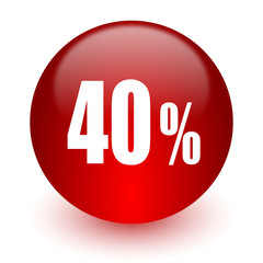 40 percent red computer icon on white background