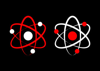 Atom icons on black background