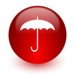 umbrella red computer icon on white background