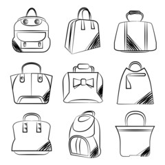 sketch fashion bag set