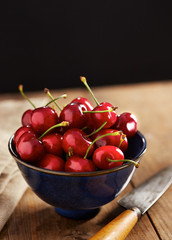 Bowl of ripe cherries