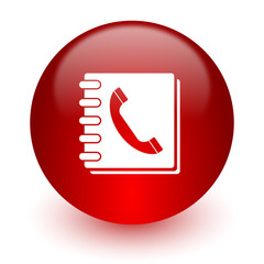phonebook red computer icon on white background
