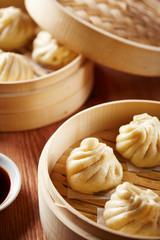Baozi chinese dumplings on steamer