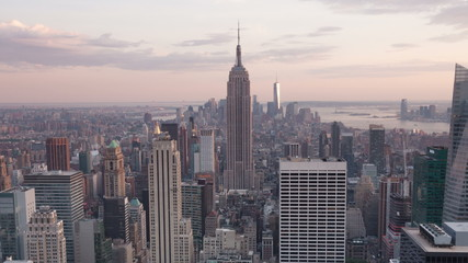 Aerial Sunset timelaspe of Manhattan skyline - New York - USA