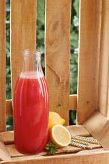 Watermelon juice on bottle