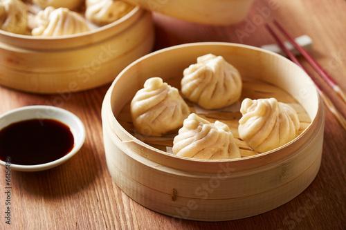 Fotobehang Restaurant Baozi chinese dumplings on steamer