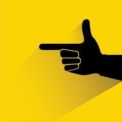 index finger, gun hand, hand pointer