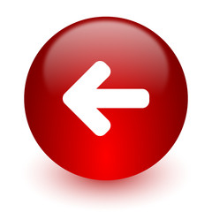 left arrow red computer icon on white background