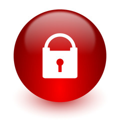 padlock red computer icon on white background