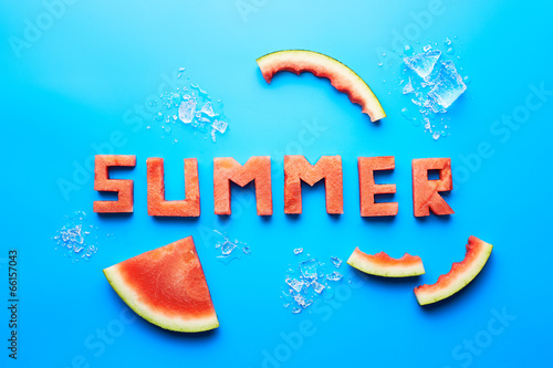 Summer word written with watermelon
