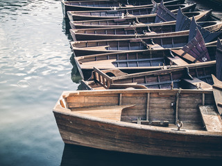 Wooden boats on the river