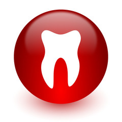 tooth red computer icon on white background