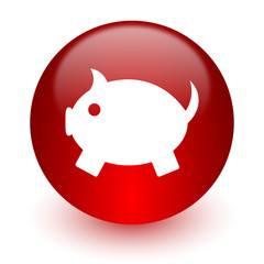 piggy bank red computer icon on white background
