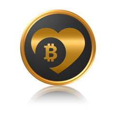 Gold Icon Series - Bitcoin love heart