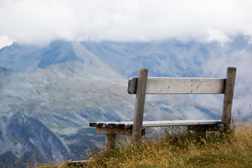 Wooden bench for resting in Austria.