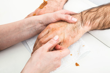 male massage hand