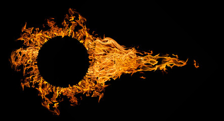 fireball with circle frame isolated on black