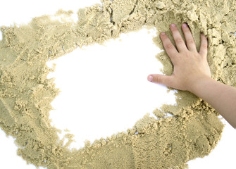 form a square of sand with hand isolated for text