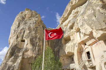 Church in Cappadocia with Turkish flag, Turkey