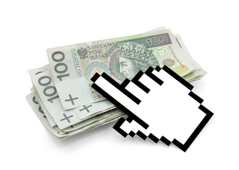 Computer hand cursor with polish money. Clipping path included.