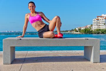 Beautiful hispanic woman in workout gear