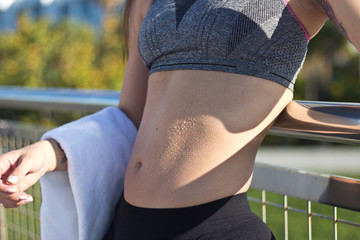 Woman's fit stomach