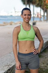 Fit, attractive hispanic woman ready to workout