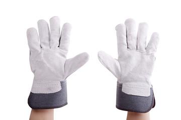 Worker wearing leather work gloves
