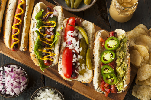 Foto op Canvas Vlees Gourmet Grilled All Beef Hots Dogs