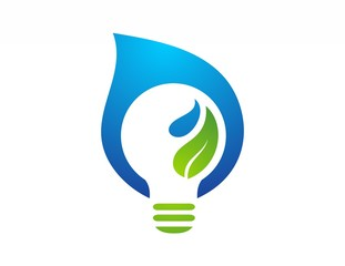 energy water drop & plant logo,nature solution symbol,light icon