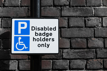 "Sign for ""Disabled badge holder only"""
