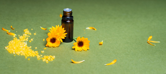 Essential aroma oil with calendula and  salt.