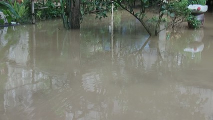 flood under the khmer house, Cambodia,