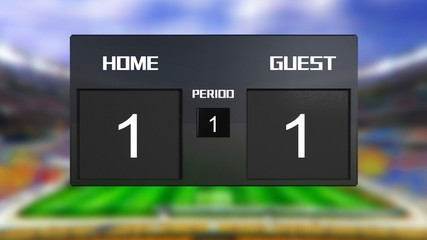 soccer match scoreboard Draws 1 & 1