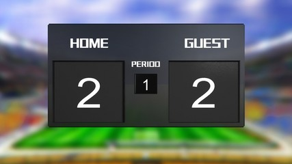 soccer match scoreboard Draws 2 & 2