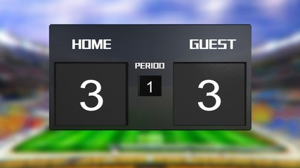 soccer match scoreboard Draws 3 & 3